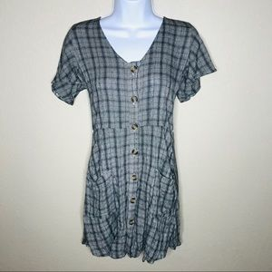 Plaid Fit and Flare Button Down Dress Pockets | S